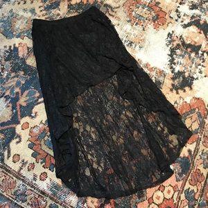 Black lace asymmetrical high/low skirt